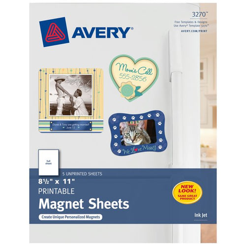 AVERY PRINTABLE MAGNETIC SHEETS, INKJET PRINTERS , 5 SHEETS (3270)
