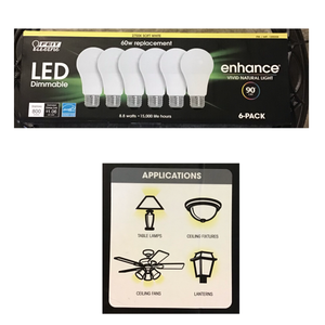 FEIT DIMMABLE LED 2700K SOFT WHITE 6-PACK (60W REPLACEMENT) 8.8 W