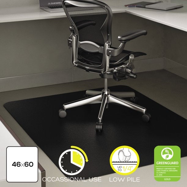 DEFLECTO ECONOMAT 46 X 60 CHAIR MAT FOR LOW PILE CARPET, RECTANGULAR, BLACK