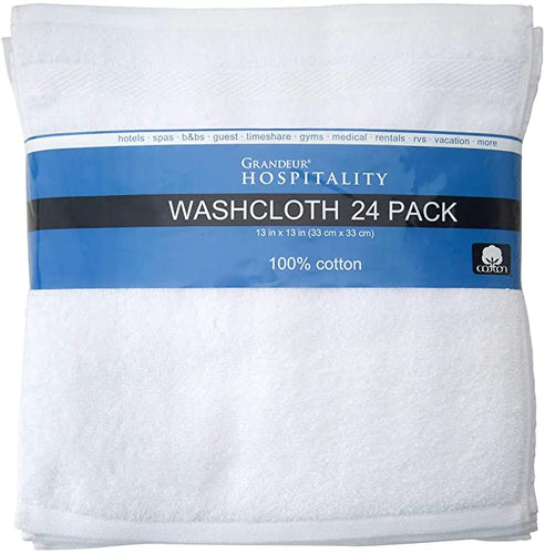 GARNDEUR HOSPITALITY 100% COTTON WASH CLOTHS 24 PACK