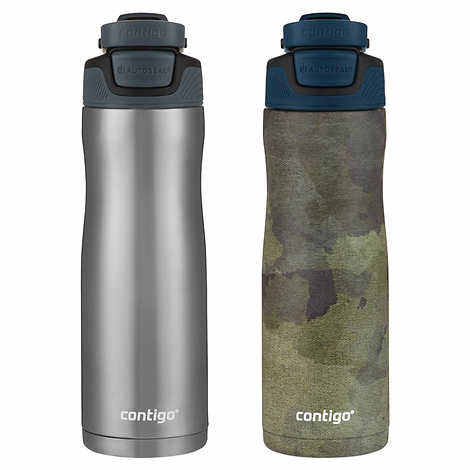 CONTIGO AUTOSEAL COUNTURE 20 OZ VACUUM INSULATED STAINLESS STEEL WATER BOTTLE , 2-PACK