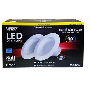 "FEIT ENHANCE 90 + CRI 75W REPLACEMENT DIMMABLE 2700K 5"" To 6"" LED, 2 PK"