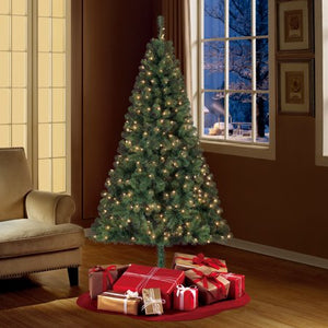 HOLIDAY TIME PRE-LIT 6.5 MADISON PINE GREEN ARTIFICIAL CHYTREE , CLEAR-LIGHTS