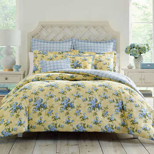LAURA ASHLEY 7-PIECE COMFORTER SET, CASSIDY YELLOW FULL/QUEEN