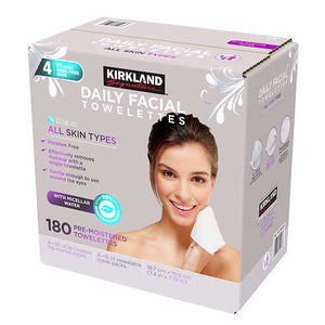 KIRKLAND SIGNATURE MICELLAR DAILY FACIAL CLEANSING TOWELETTES- 180 COUNT