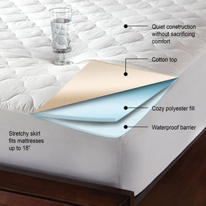 QUIET COMFORT TWIN WATERPROOF MATTRESS PAD, TWIN