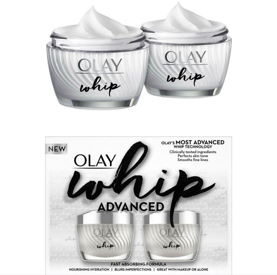 OLAY WHIP ADVANCED FACE NOURSHING HYDRATION 2-PACK 1.7 OZ EACH