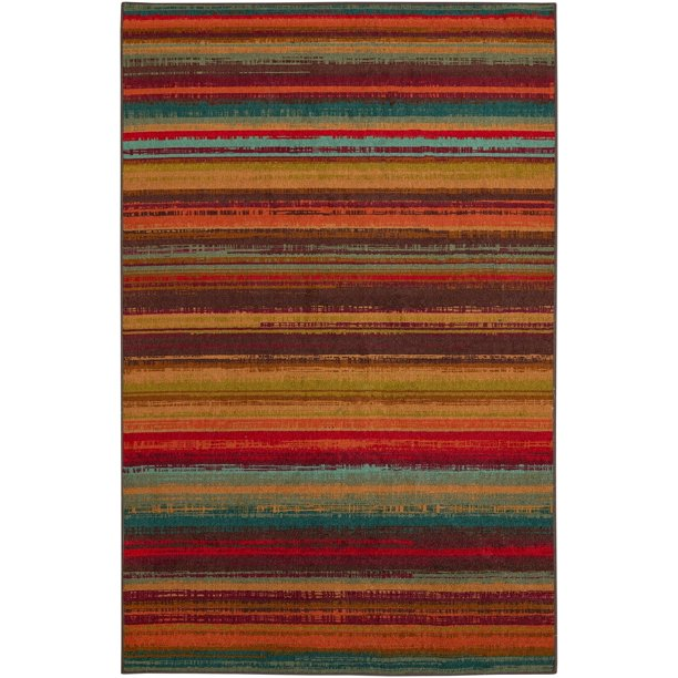 MOHAWK HOME AVENUE STRIPE INDOOR/OUTDOOR RUG 5' X 8' MULTI - COLORED