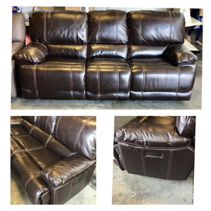 LEATHER POWER RECLINING SOFA WITH POWER HEADREST