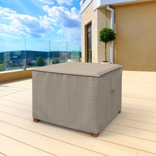 Load image into Gallery viewer, BUDGE SMALL TAN TWEED PATIO TABLE / OTTOMAN  COVER, ENGLISH GARDEN