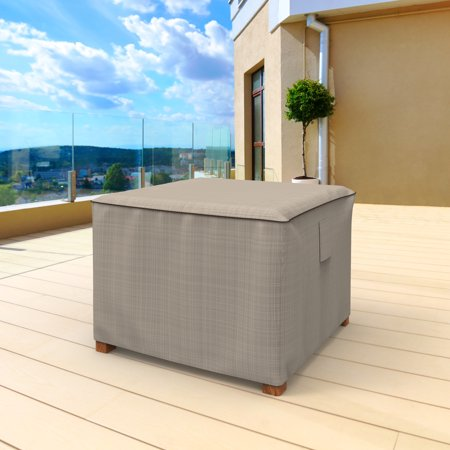 BUDGE SMALL TAN TWEED PATIO TABLE / OTTOMAN  COVER, ENGLISH GARDEN