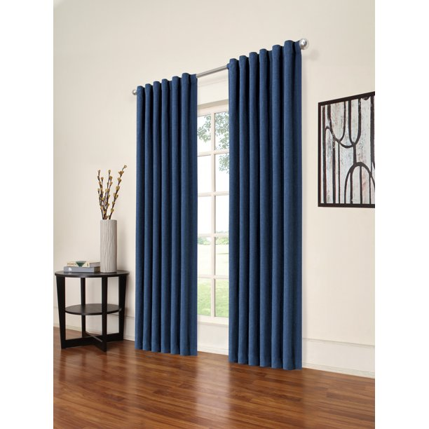 "ECLIPSE KENLEY BLACKOUT WINDOW CURTAIN SET OF 2, COLOR INDIGNO 52""x95"""