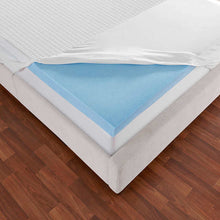 "Load image into Gallery viewer, NOVAFORM 3"" EVENCOR GELPLUS GEL MEMORY FOAM MATTRESS TOPPER WITH COOLING COVER, QUEEN"