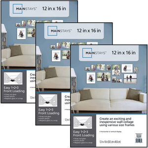 MAINSTAYS 12x 16 FORMAT PICTURE FRAME, SET OF 3