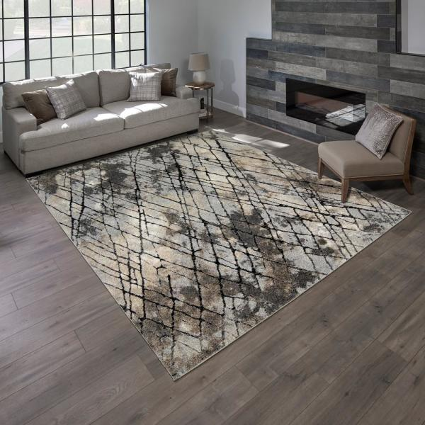 "TORINO RUG COLLECTION, NEWMAN GRAY 5' 3"" X 7'"