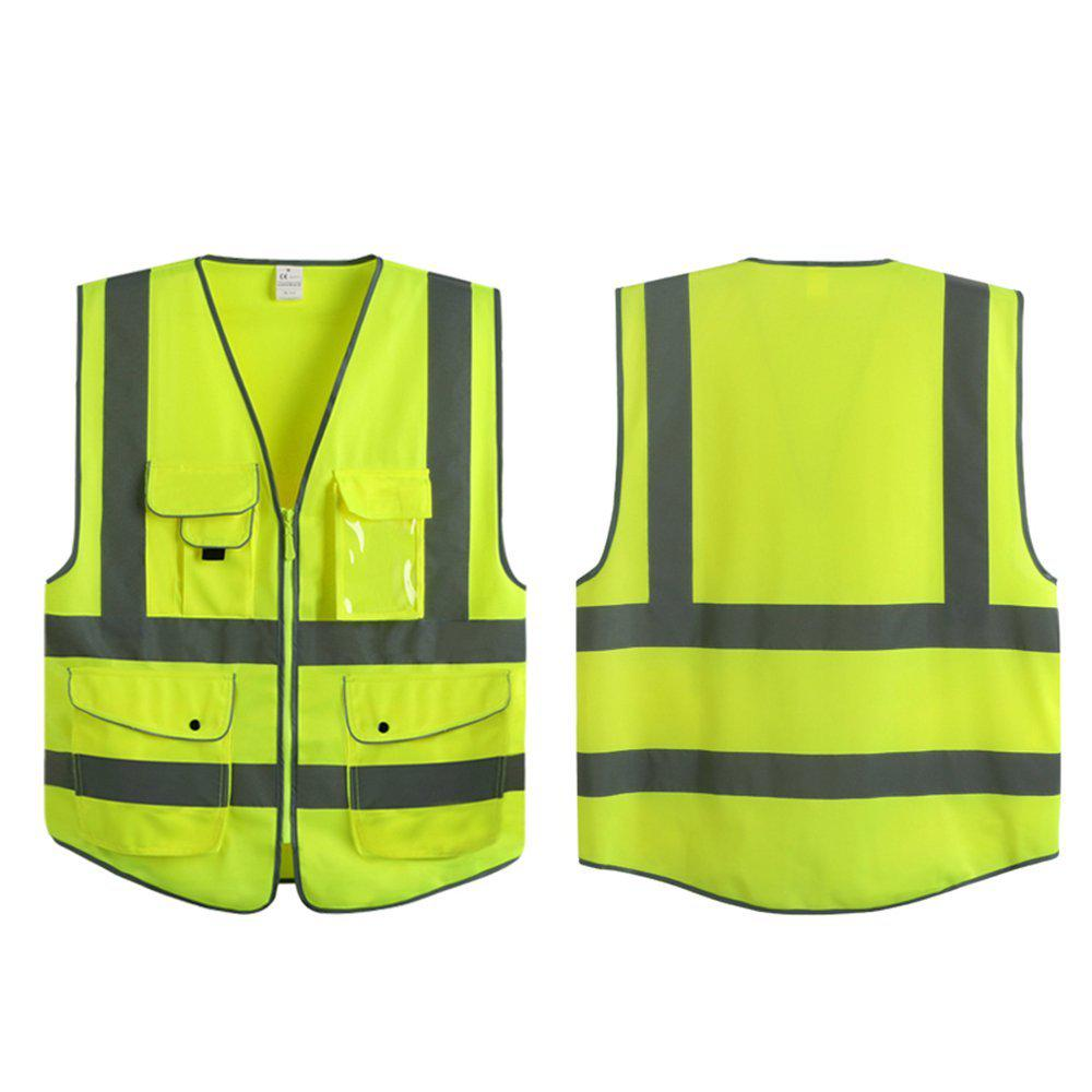 JKSAFETY 9 POCKETS CLASS 2 HIGH VISIBILITY ZIPPER LARGE