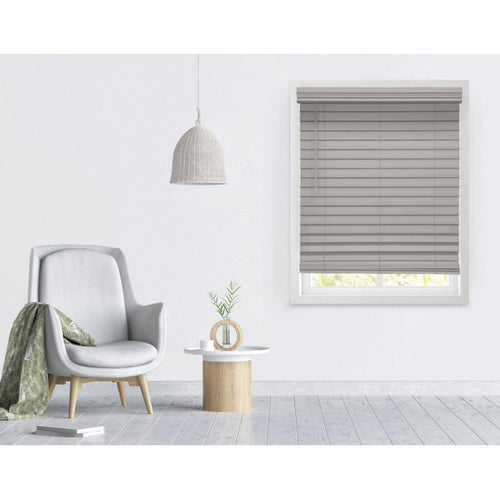 "RICHFIELD STUDIOS 2.5 "" CORDLESS FAUX WOOD BLINDS GRAY STONE (23 X 72 )"