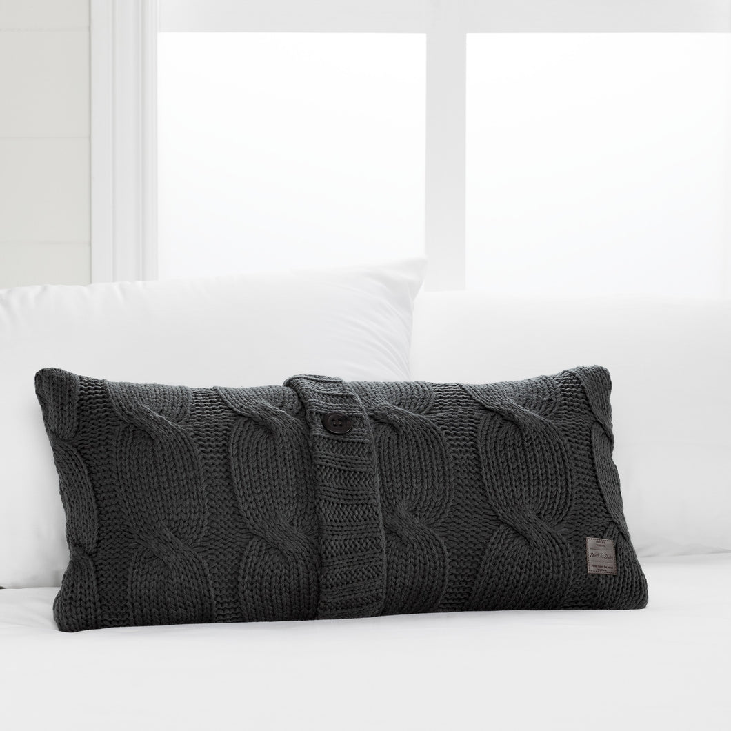 SOUTH SHORE LODGE GRAY CABLE-Knit THROW PILLOW WITH DECORATIVE BUTTON