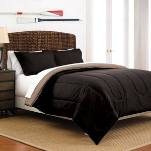 MARTEX REVERSIBLE LIGHTWEIGHT 2- PIECE COMFORTER SET, TWIN XL, EBONY/ KHAKI
