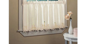 CHF & YOU BATTERNBURG ROD POCKET KITCHEN SWAG KITCHEN CURTAINS SET OF 2 VALANCE