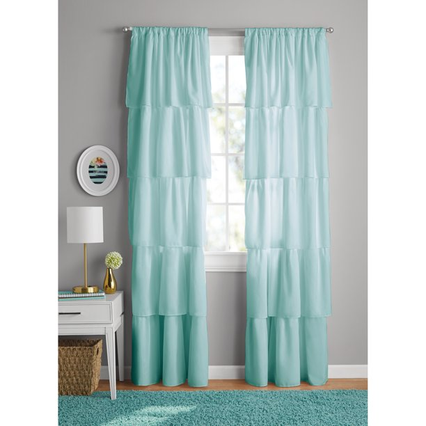 YOUR ZONE RUFFLE GIRLS BEDROOM CURTAIN PANEL PAIR (42 X 84)