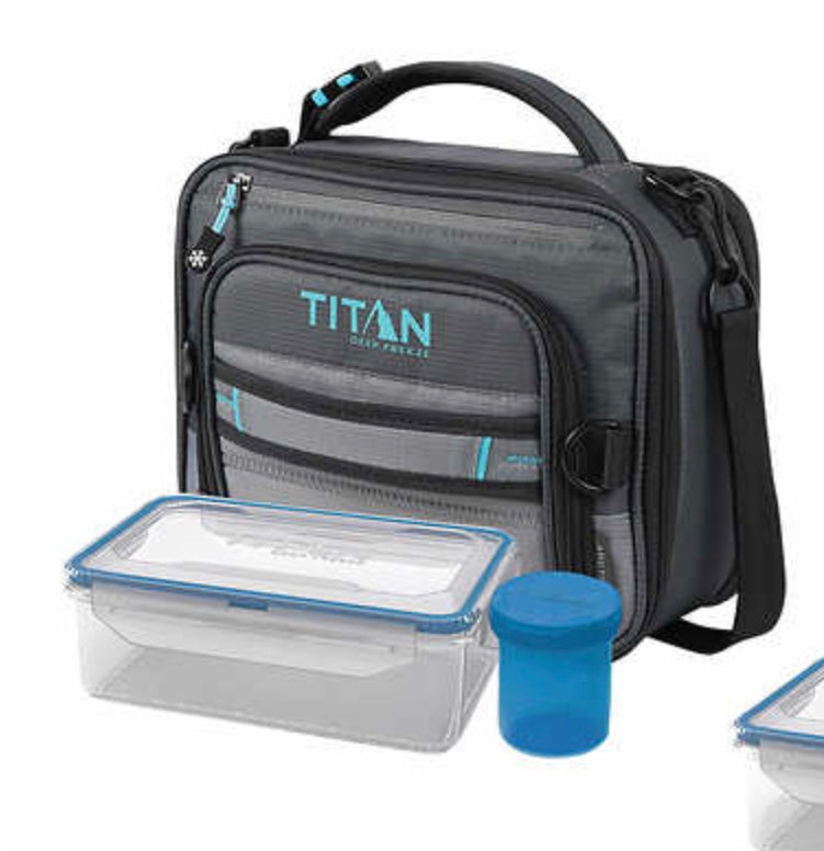TITAN DEEP FREEZE EXPANDABLE LUNCH BOX WITH 2 ICE WALLS GRAY