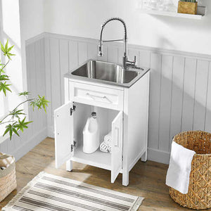 "OVE DECORS PALOMA 22"" UTILITY SINK WITH FAUCET & CABINET (ASSEMBLED)"