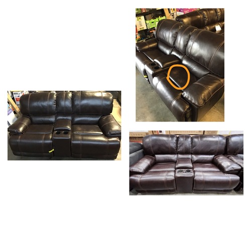 LEATHER POWER RECLINING LOVESEAT WITH POWER HEADREST (USED)
