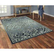 Load image into Gallery viewer, MAINSTAYS INDIA MEDALLION TEXTURED PRINT RUNNER COLLECTION, NAVY/ GRAY 2'6 X 3' 10""