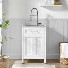"Load image into Gallery viewer, OVE DECORS PALOMA 22"" UTILITY SINK WITH FAUCET & CABINET (ASSEMBLED)"