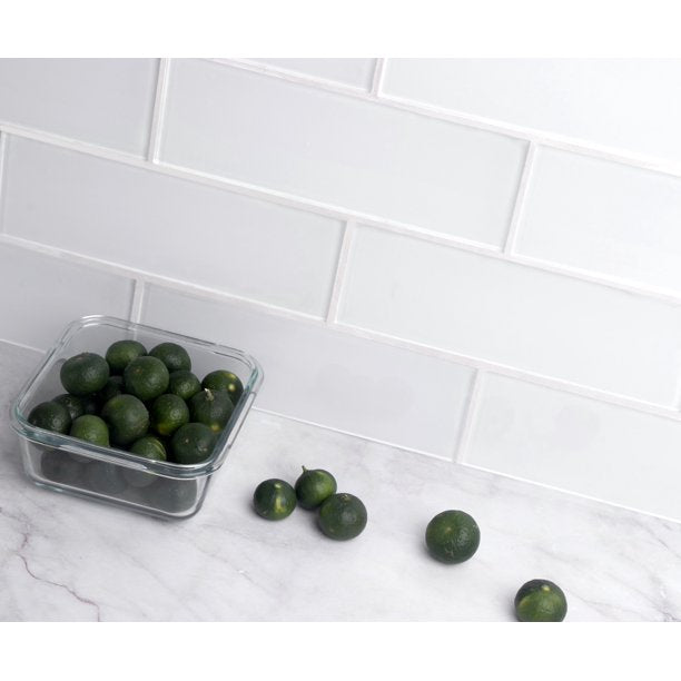 "WS TILES - PREMIUM SERIES INDIVIDUAL 3"" X 9"" GLASS SUBWAY TILE IN WHITE - 5 SQUARE FEET CARTOON"