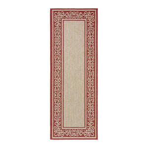 STUDIO BY BROWN JORDAN INDOOR/ OUTDOOR RUNNER 2'2 X 6 SAVANNAH GRAIN RED