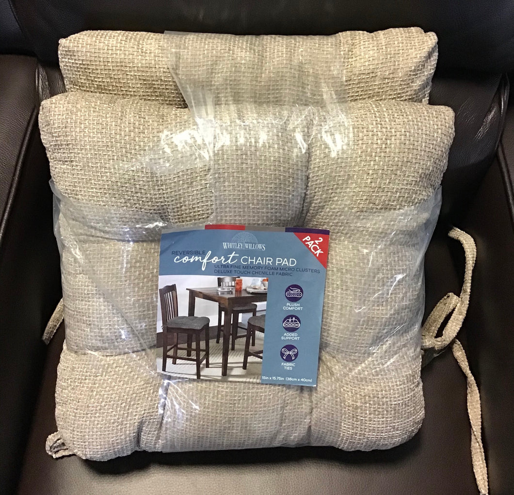 "2-PACK WHITLEY WILLOWS REVERSIBLE COMFORT CHAIR OAD 15""x15.75"" PLUSH TAUPE"
