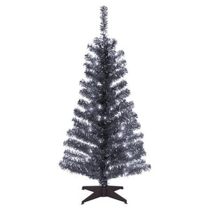 NATIONAL TREE 4' BLACK TINSEL TREE WITH PLASTIC STAND AND 70 CLEAR LIGHTS