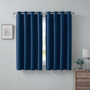 MAINSTAYS FAUX SILK ROOM DARKENING FOAM BACK CURTAIN PANEL, PANEL PAIR (54 X 63 )