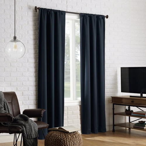 SUN ZERO AVERY 100% BLACKOUT ROD POCKET NAVY BLUE CURTAIN PANEL PAIR 40 X 84