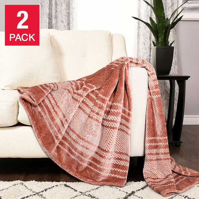 LIFE COMFORT ECP STRIPED PLUSH THROW 2-PACK