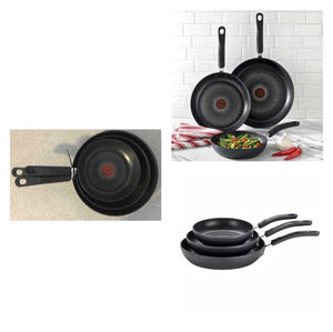 T-FAL 3 PIECE FRY PAN SET PREOWNED