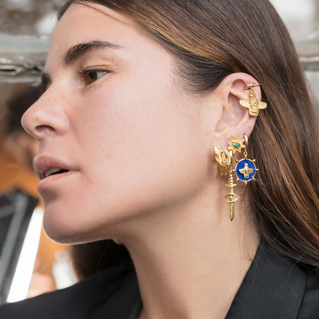 Atmaca Madalyon Küpe | The Hawk Medallion Earring