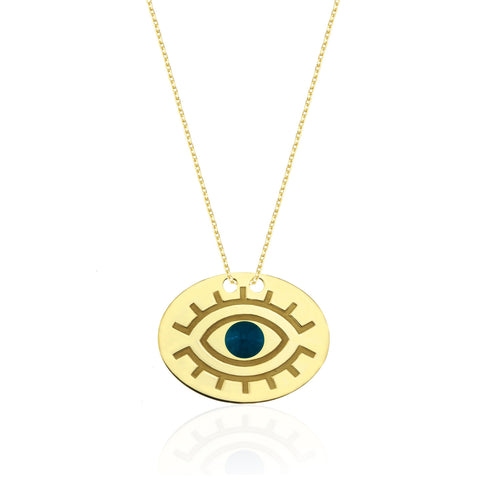 Evil Eye 1 Elips Kolye  //  Evil Eye 1 Ellipse Necklace - Lucky Culture - 1