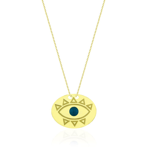 Evil Eye 2 Elips Kolye //  Evil Eye 2 Ellipse Necklace - Lucky Culture - 1