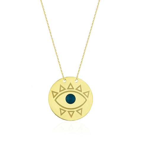 Evil Eye 2 Daire Kolye //  Evil Eye 2 Circle Necklace - Lucky Culture - 1