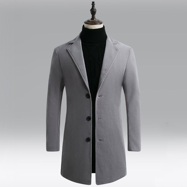 Solid Color Plus Cotton Mid-Length Trench Coat