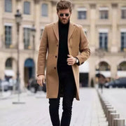 Mens Long Solid Color Wool Coat
