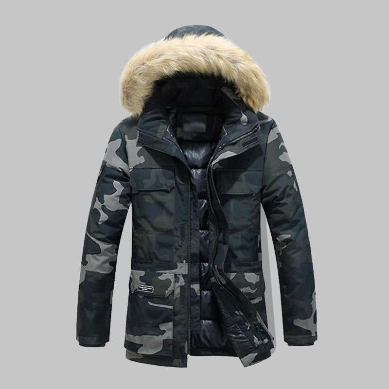 Lapel Camouflage Collar Cotton Coat