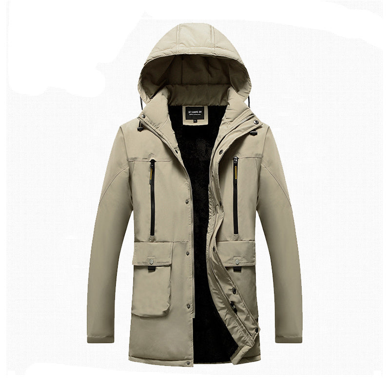 Mens plain casual hooded cotton coat
