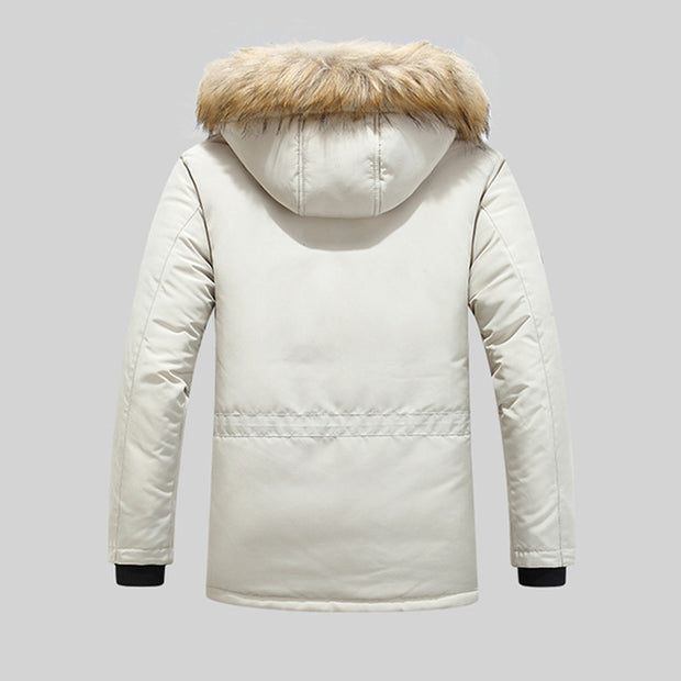 Mens Knitting Patchwork Faux Fur Collar Casual Cotton Coat