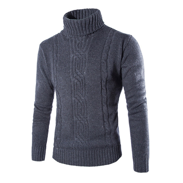 Mens Fashion Jacquard Solid Color Sweater