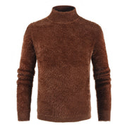 Fashion Plain Mohair Knit Turtleneck Sweater
