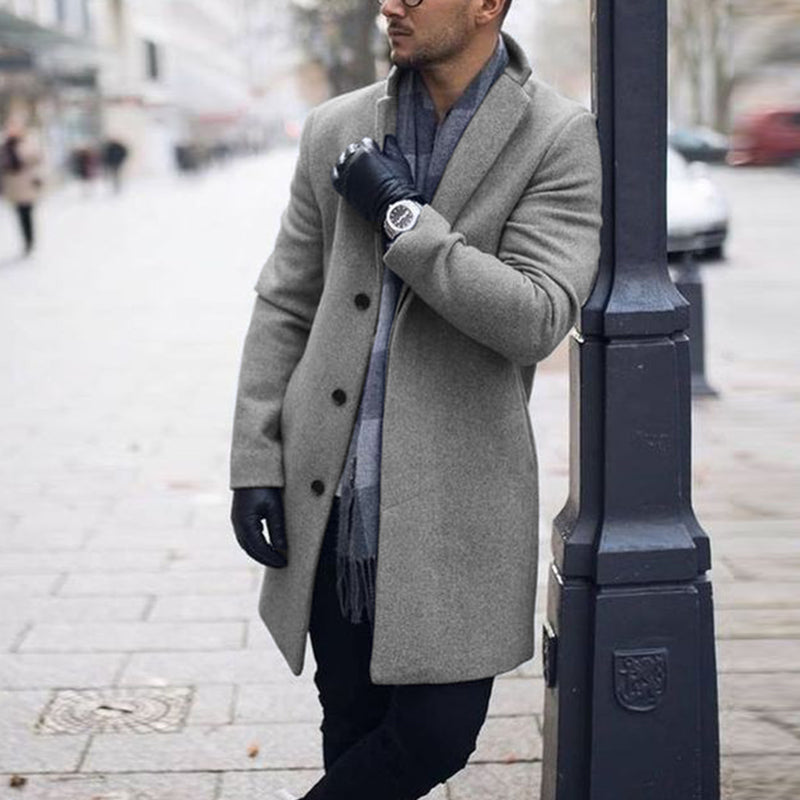 Mens Plain Notched Lapel Woolen Blend Coat